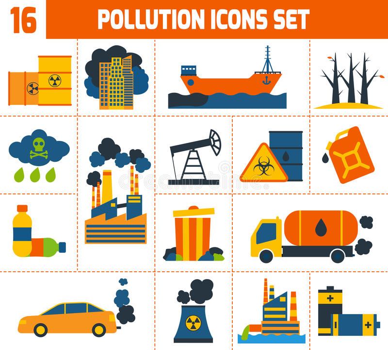 Ícones da poluição ajustados ilustração do vetor