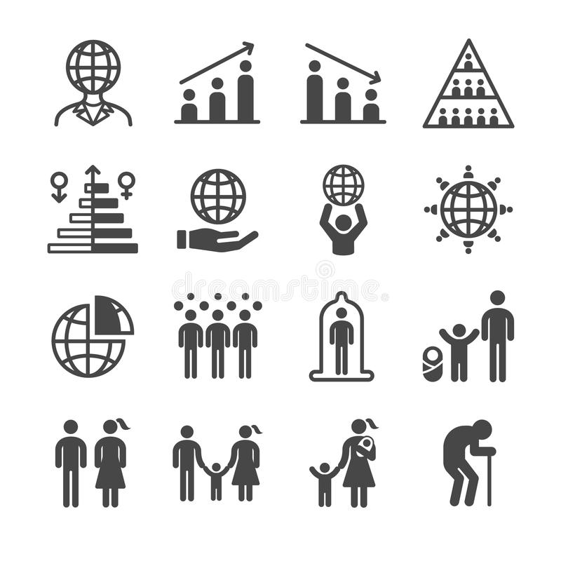 Ícones da população e do cidadão ilustração royalty free