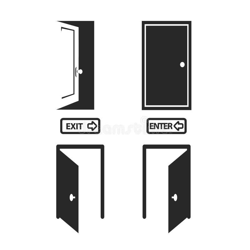 Ícones da porta ajustados ilustração stock