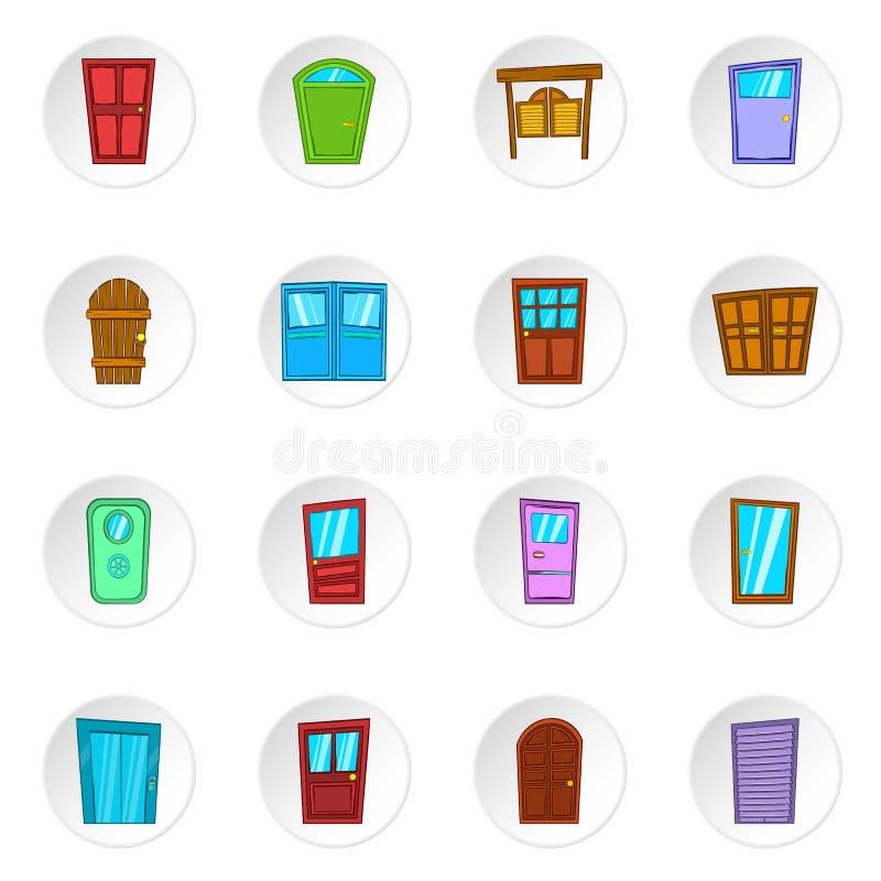 Ícones da porta, estilo dos desenhos animados ilustração royalty free