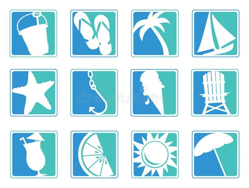 Ícones da praia ilustração royalty free