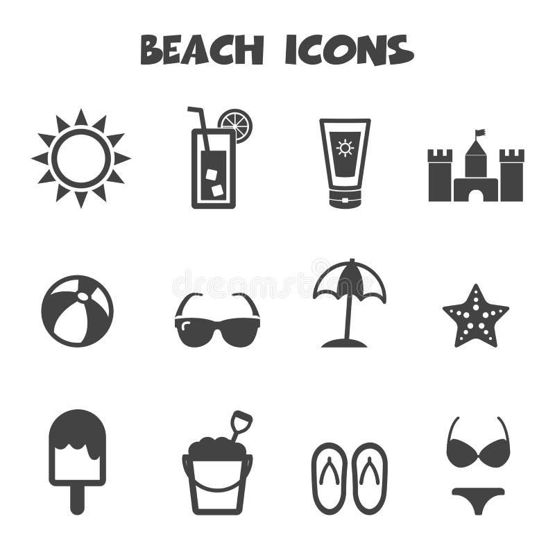 Ícones da praia ilustração stock