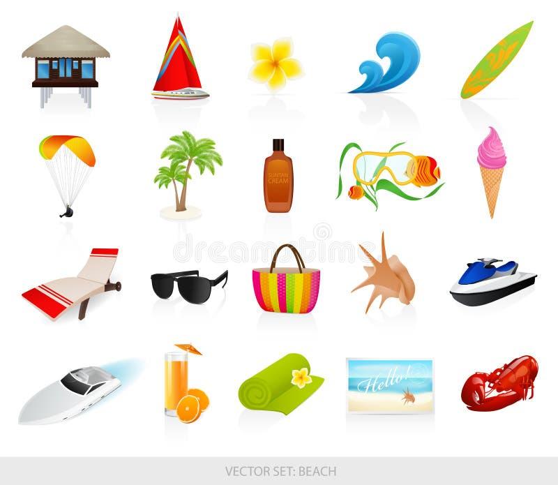 Ícones da praia ajustados ilustração royalty free