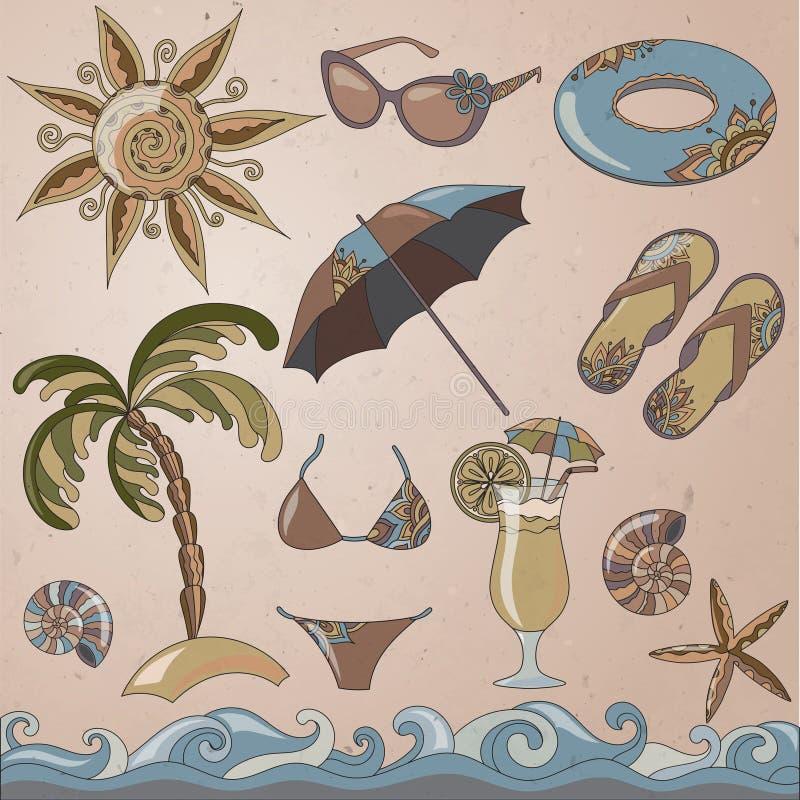 Ícones da praia do beira-mar das férias de verão ajustados ilustração royalty free