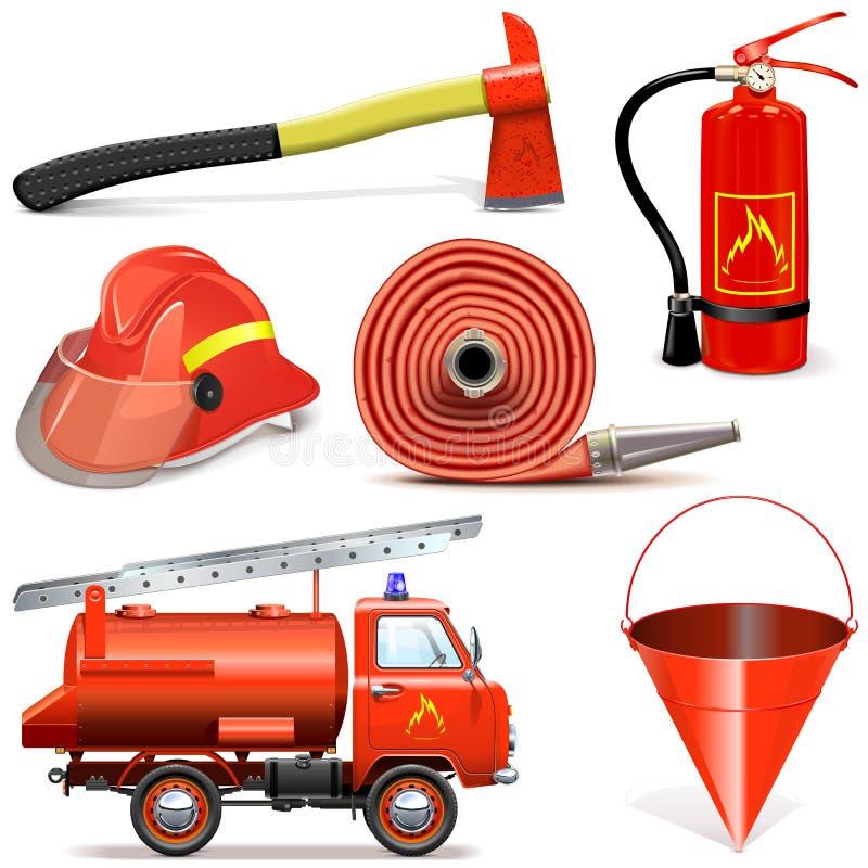 Ícones da prevenção de incêndios do vetor ilustração stock