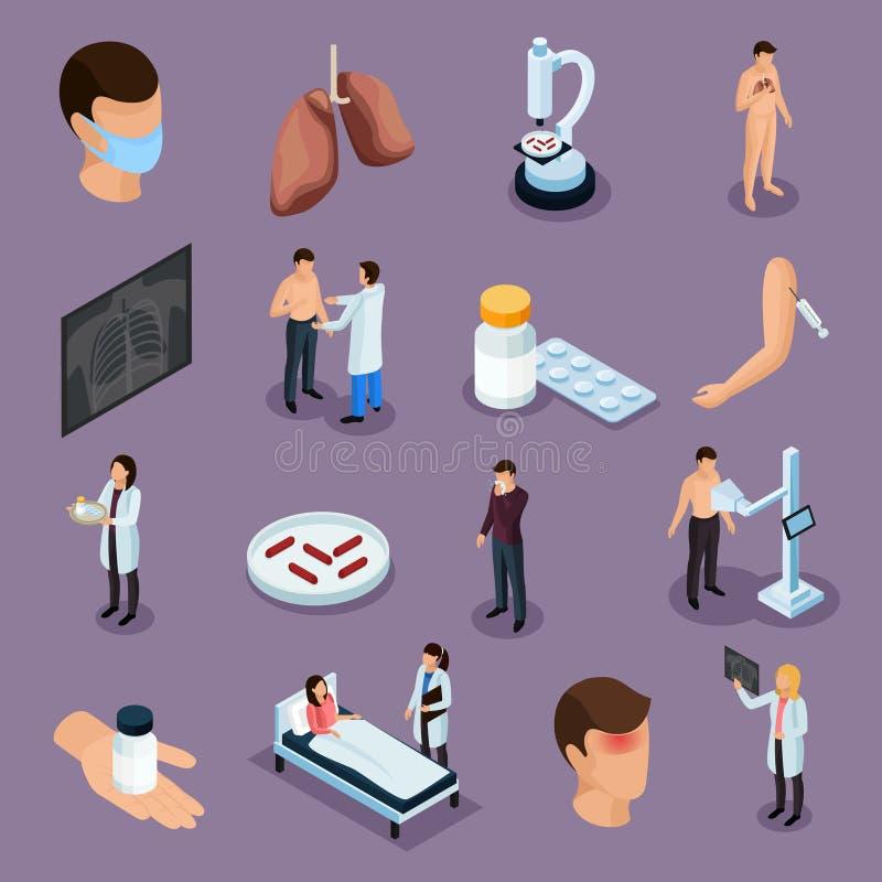 Ícones da prevenção da tuberculose ajustados ilustração royalty free