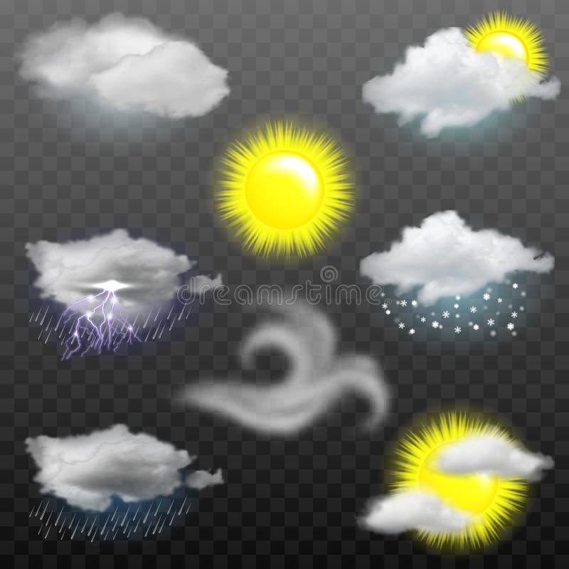 Ícones da previsão de tempo do vetor ilustração stock