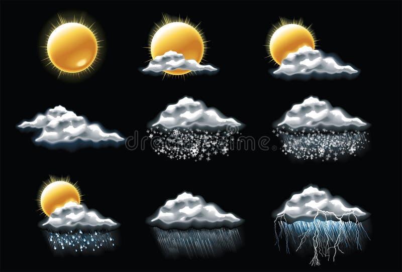 Ícones da previsão de tempo do vetor. Parte 1 ilustração do vetor