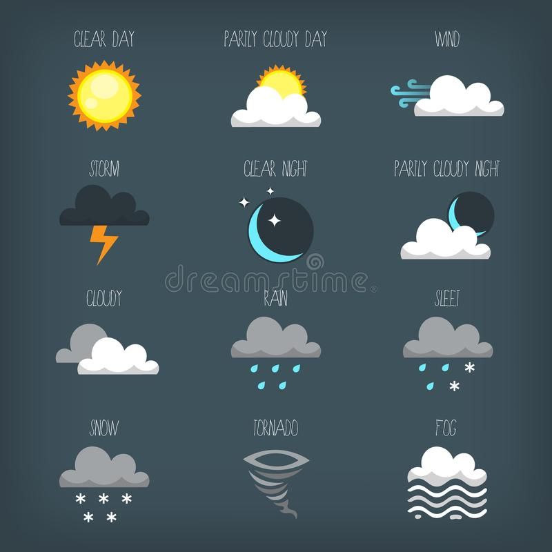 Ícones da previsão de tempo para seu projeto ilustração stock
