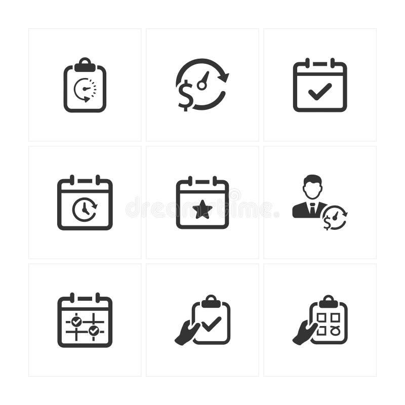 Ícones da programação do evento - Gray Version ilustração do vetor