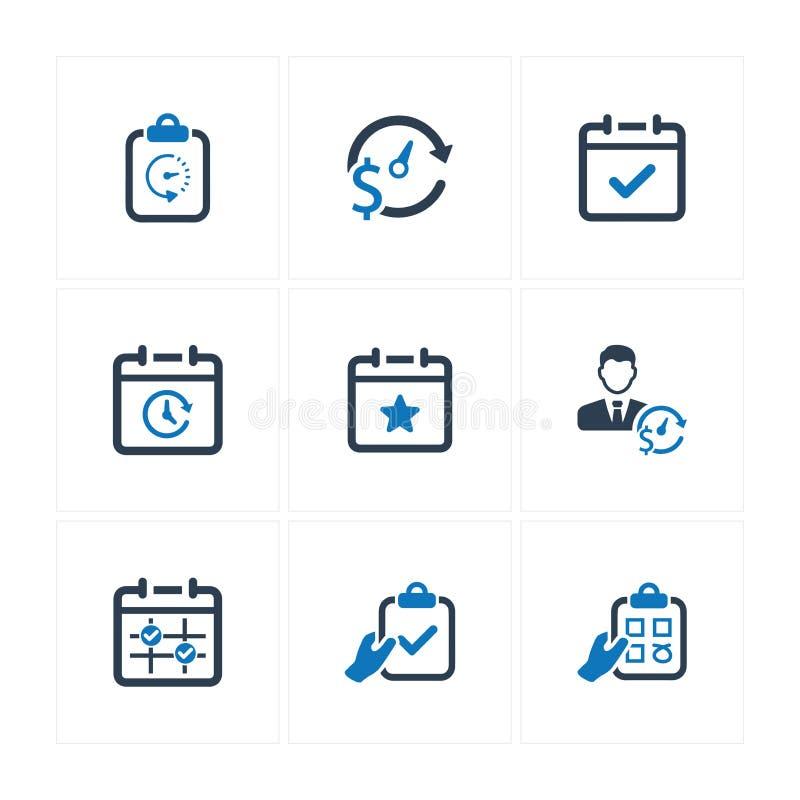 Ícones da programação do evento - versão azul ilustração do vetor