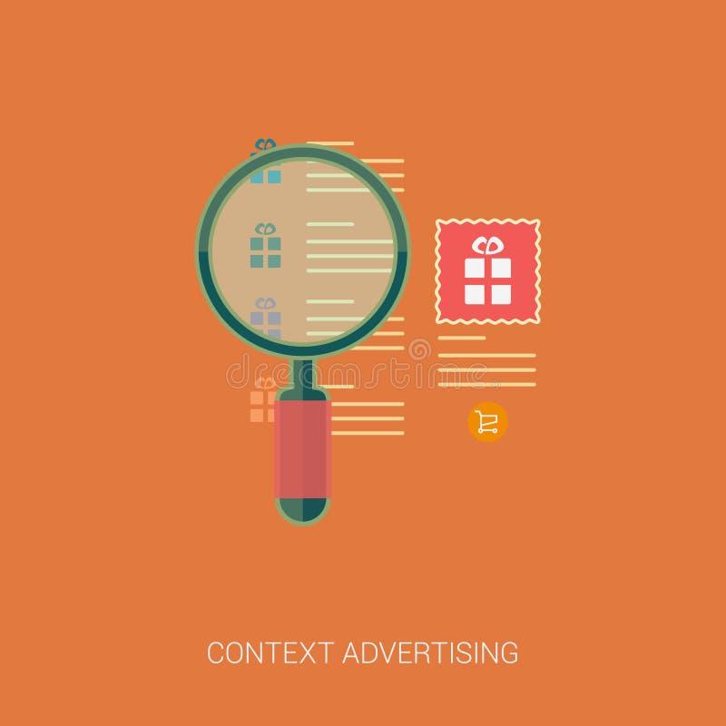 Ícones da propaganda da busca e do contexto de produto ilustração stock