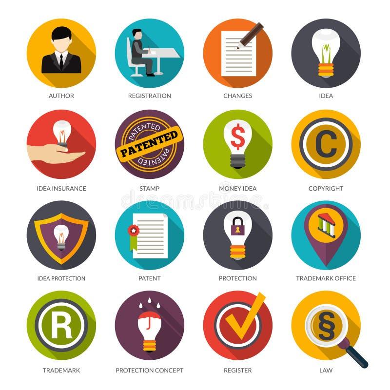 Ícones da proteção da ideia da patente ilustração royalty free