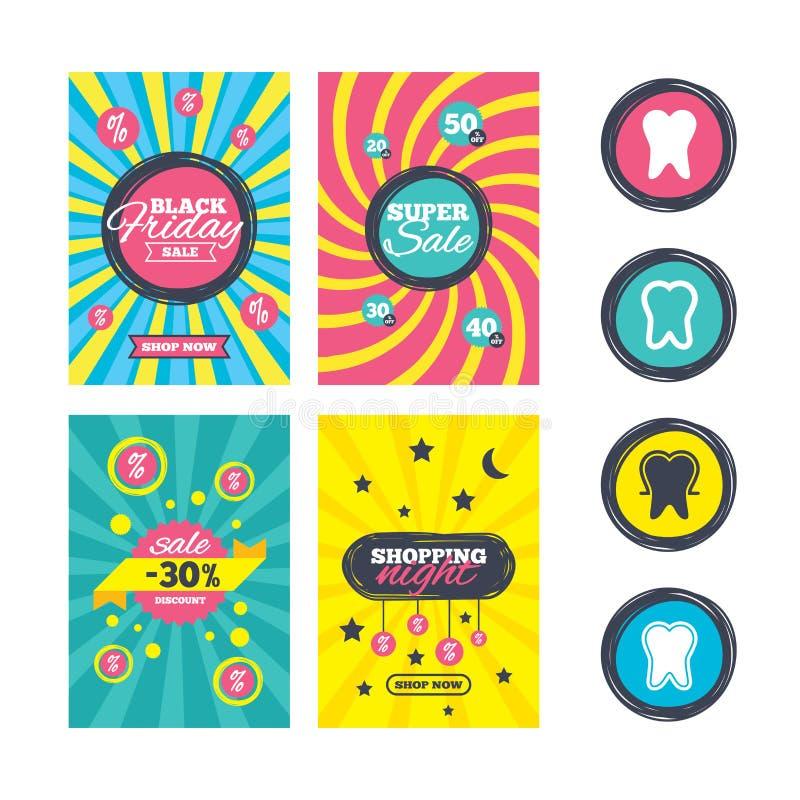 Ícones da proteção do esmalte de dente Sinais dos cuidados dentários ilustração royalty free