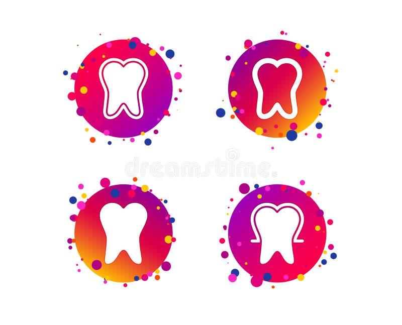 Ícones da proteção do esmalte de dente Sinais dos cuidados dentários Vetor ilustração stock