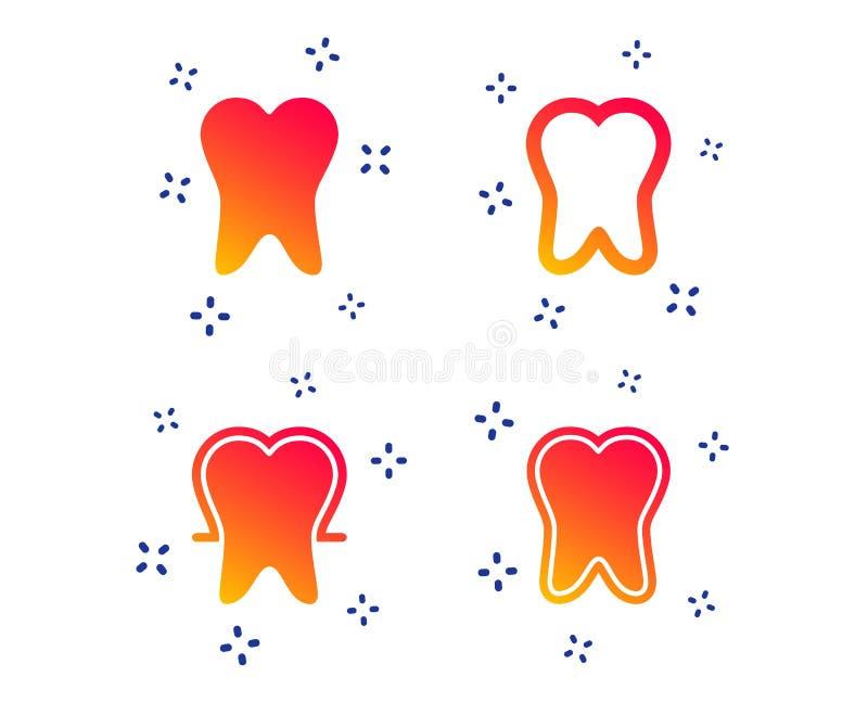 Ícones da proteção do esmalte de dente Sinais dos cuidados dentários Vetor ilustração royalty free