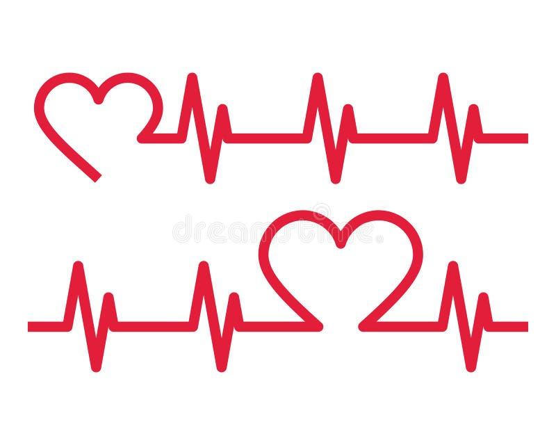 Ícones da pulsação do coração electrocardiogram ilustração do vetor