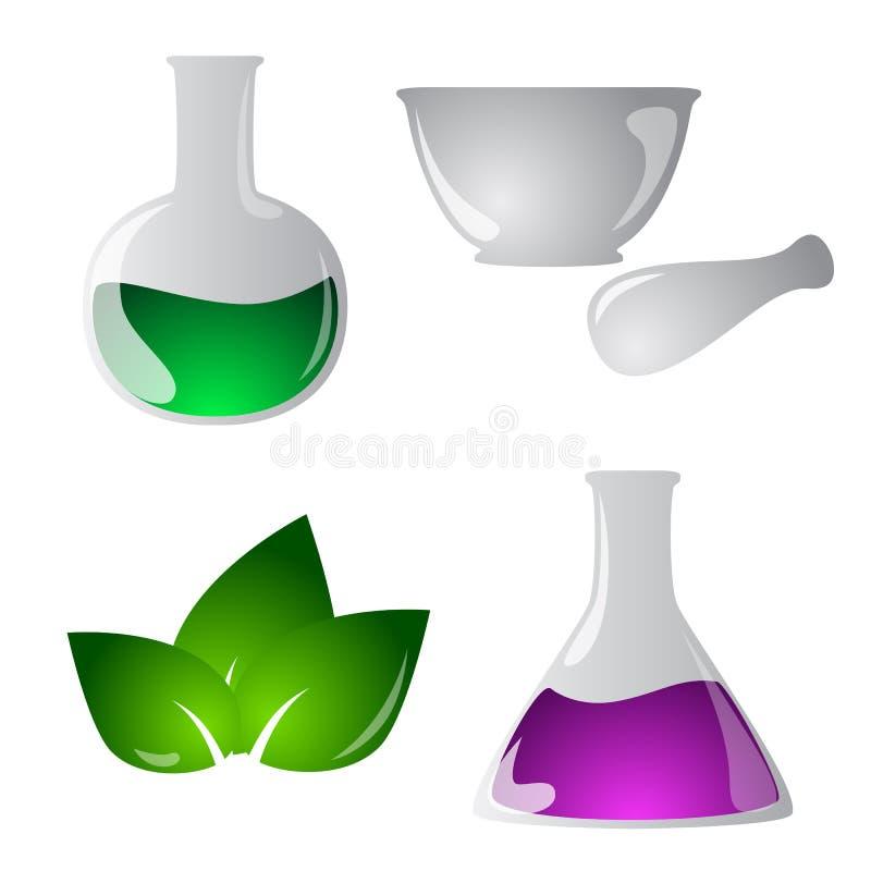 Ícones da química ajustados ilustração do vetor