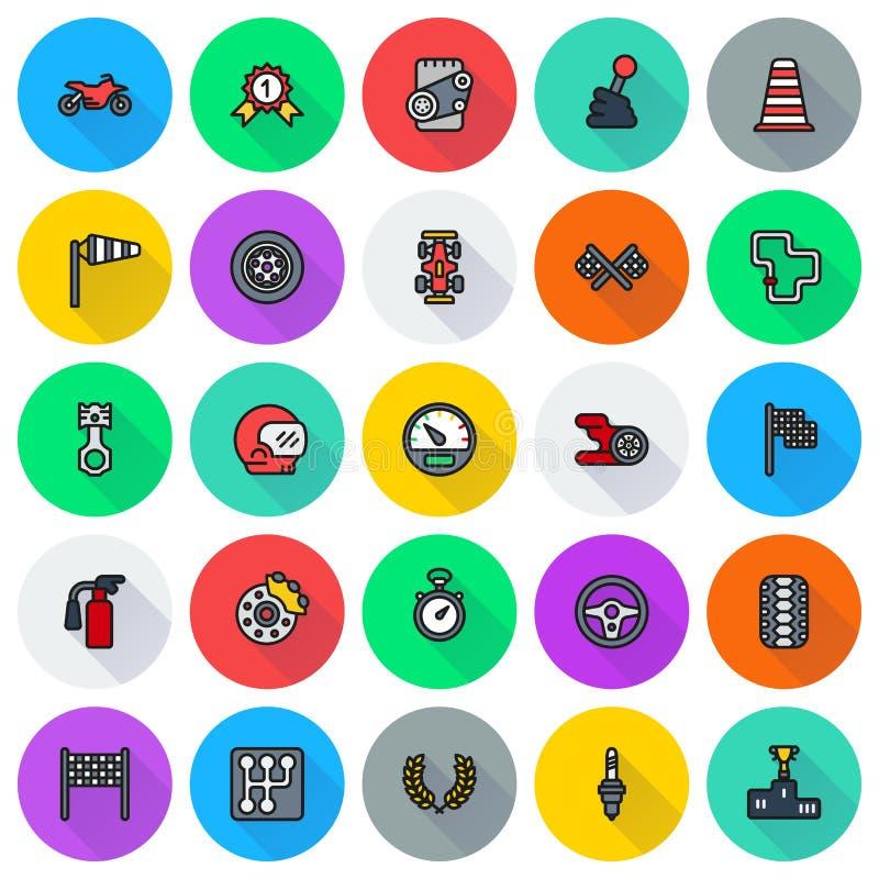 Ícones da raça de carro ajustados no fundo redondo ilustração royalty free