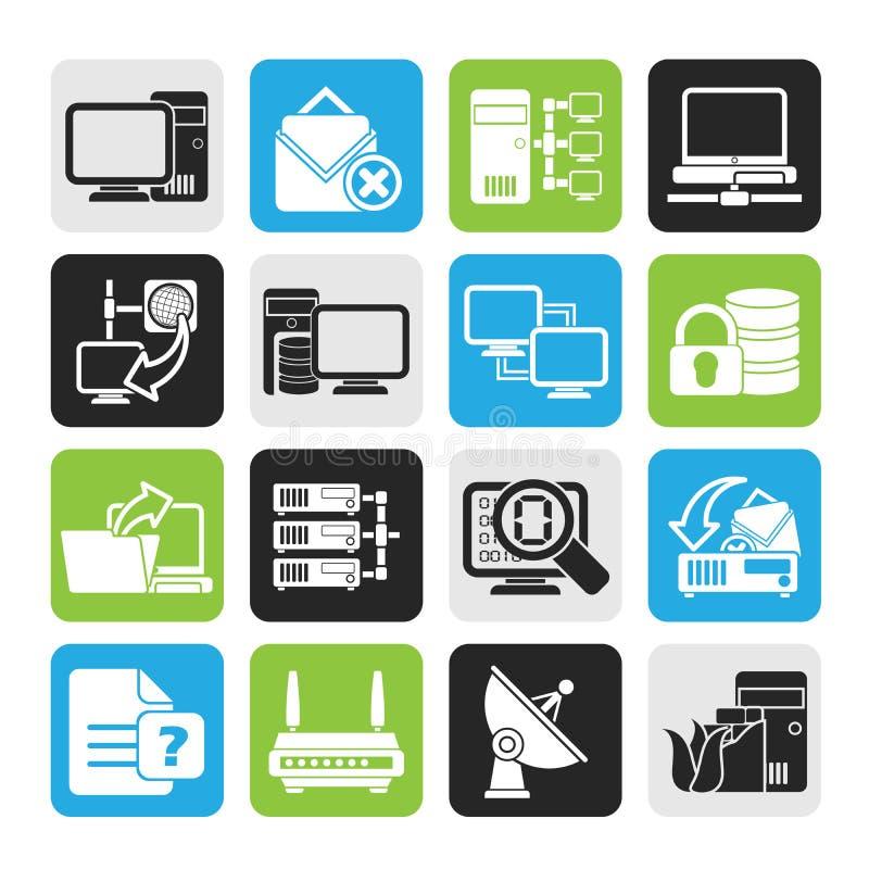 Ícones da rede informática e do Internet da silhueta ilustração royalty free