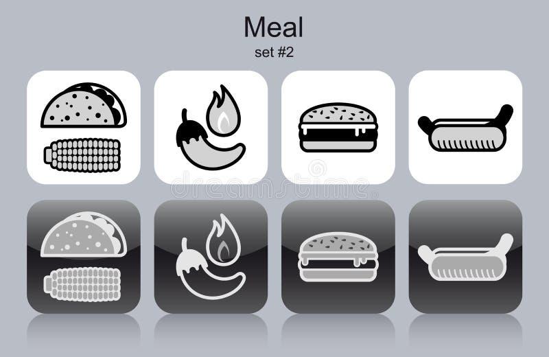 Ícones da refeição ilustração royalty free