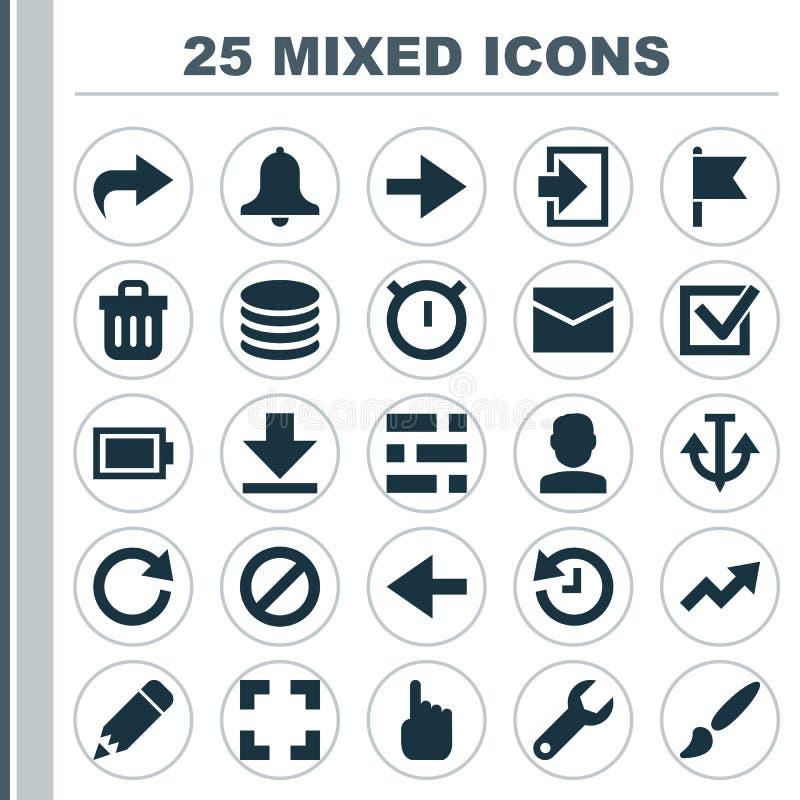 Ícones da relação ajustados Coleção da armadura, do DB, da sirene e dos outros elementos Igualmente inclui símbolos como a luz, p ilustração stock