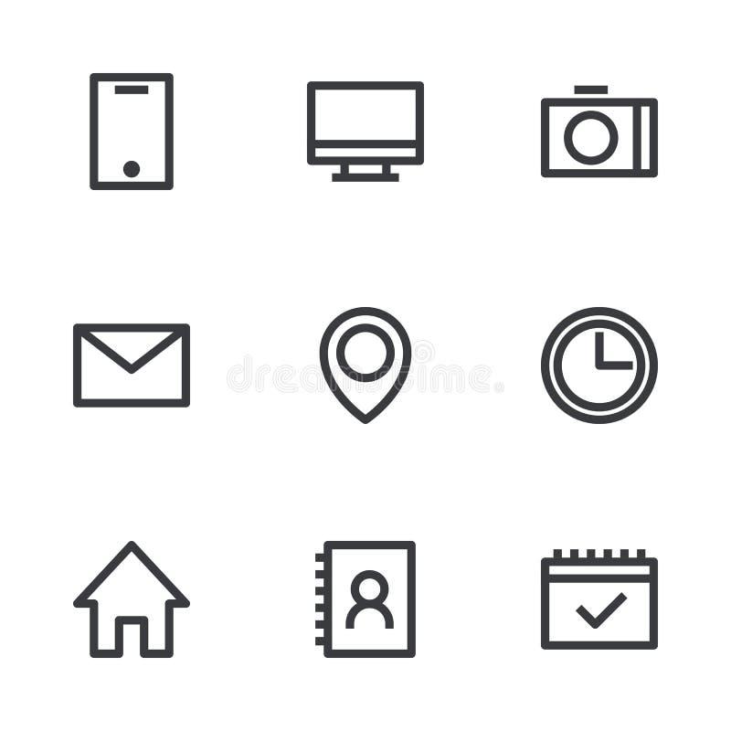 Ícones da relação do esboço Ícones do vetor Símbolos da informação Elementos do cartão ilustração stock