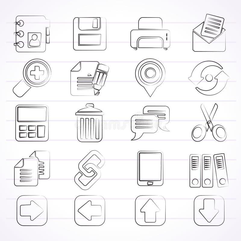 Ícones da relação do Internet ilustração stock