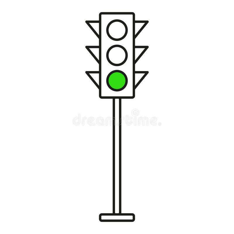 Ícones da relação do sinal A parada vermelha, amarela e verde, vai e espera ilustração stock