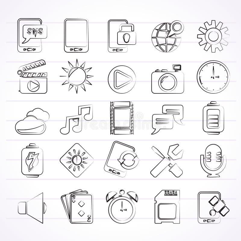 Ícones da relação do telefone celular ilustração royalty free