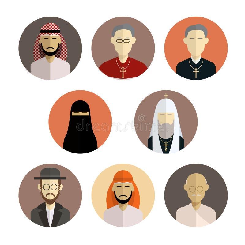 Ícones da religião ilustração stock