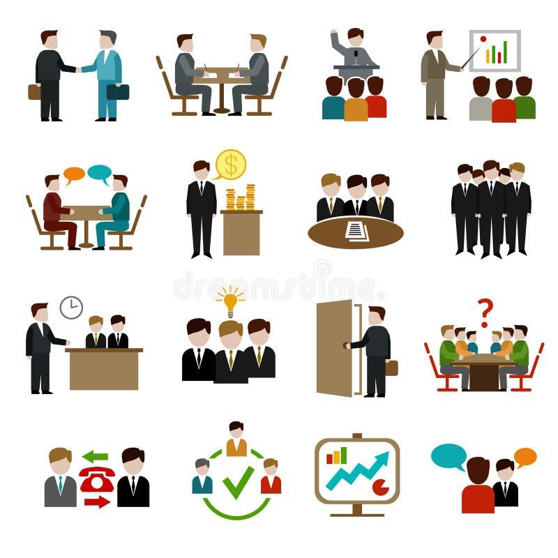 Ícones da reunião ajustados ilustração royalty free