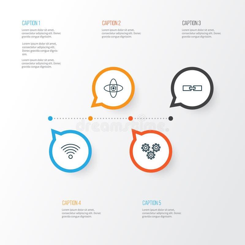Ícones da robótica ajustados Coleção de informação relacionada, do processador central atômico, das peças do mecanismo e dos outr ilustração stock