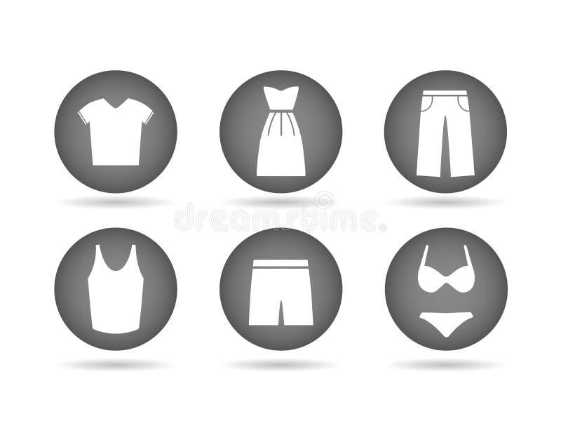 Ícones da roupa cinzentos ilustração royalty free