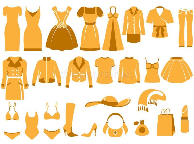 Ícones da roupa da mulher ilustração do vetor