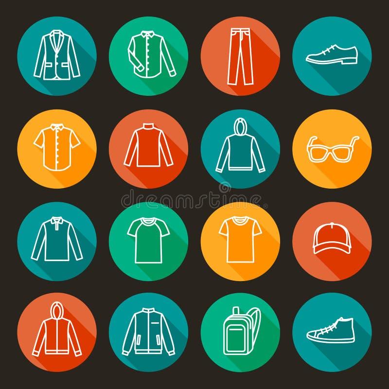 Ícones da roupa dos homens ilustração royalty free