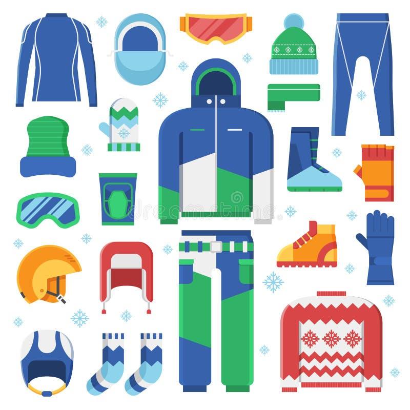 Ícones da roupa e dos acessórios dos esportes de inverno ilustração royalty free