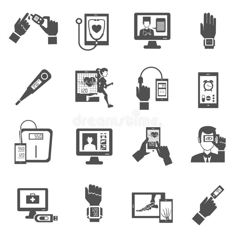 Ícones da saúde de Digitas ajustados ilustração stock