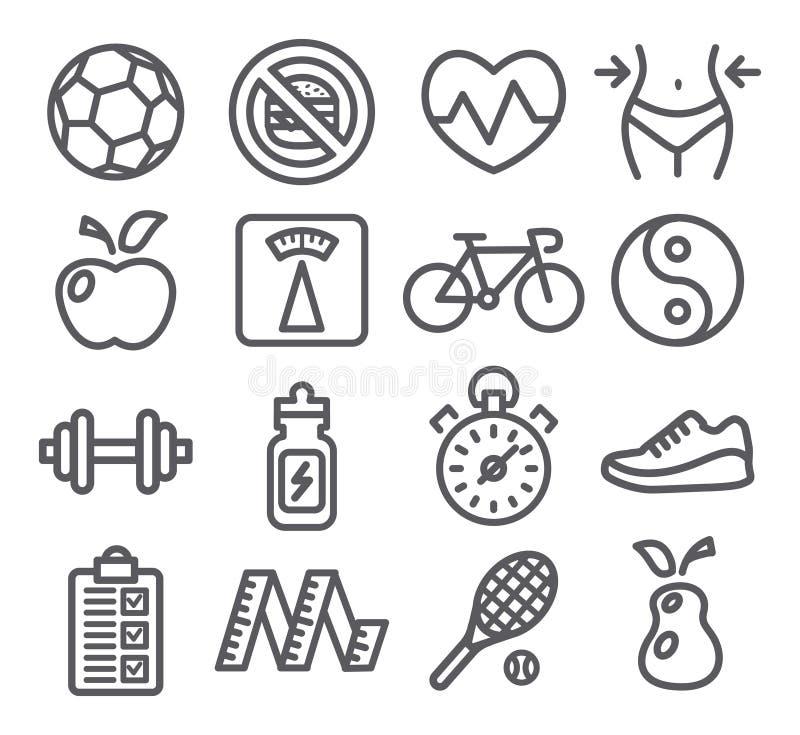 Ícones da saúde e da aptidão ilustração royalty free
