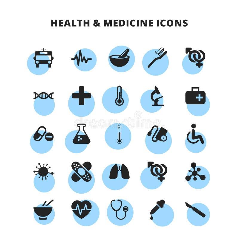 Ícones da saúde & da medicina ajustados ilustração do vetor