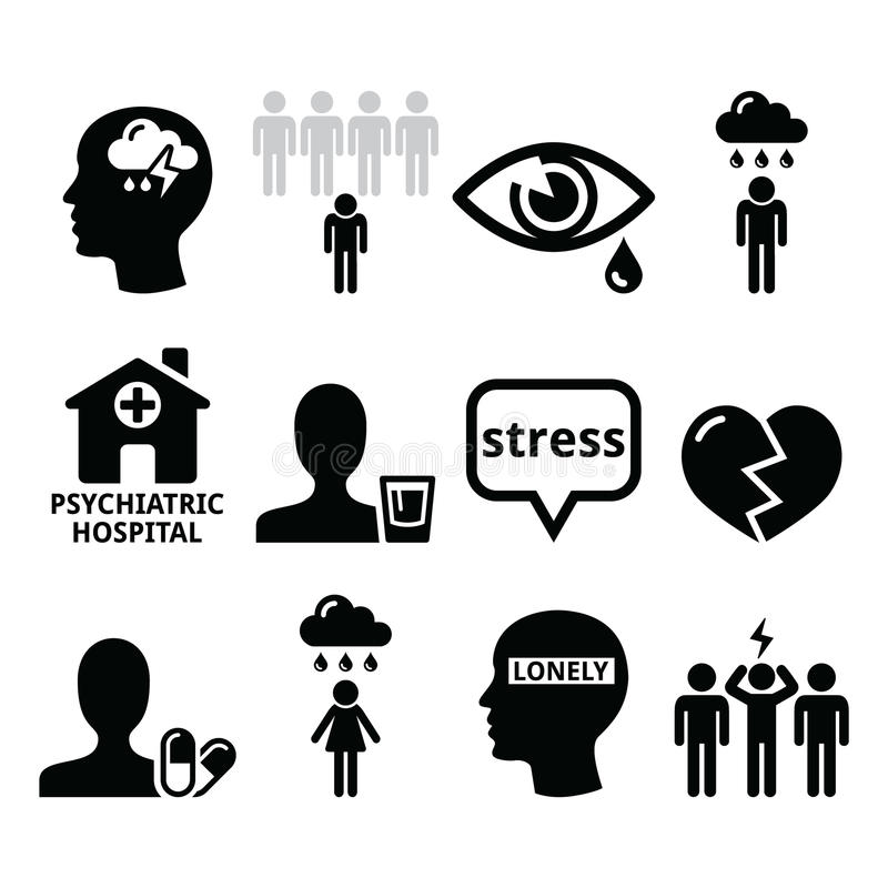 Ícones da saúde mental - depressão, apego, conceito da solidão