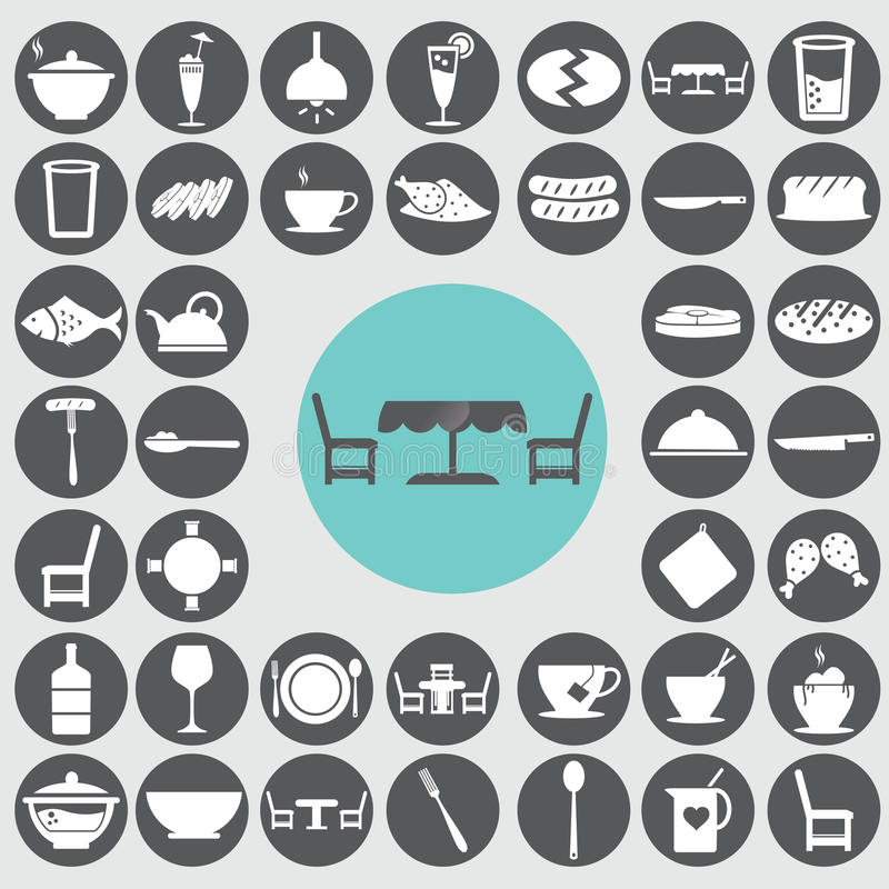 Ícones da sala de jantar ajustados ilustração do vetor