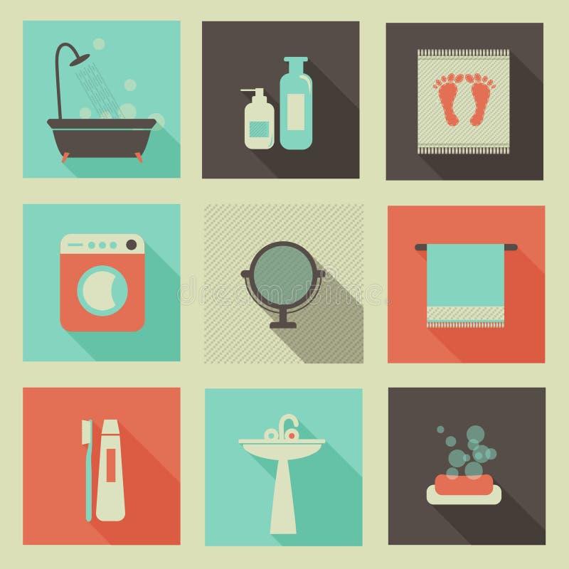 Ícones da sala do banho ilustração royalty free