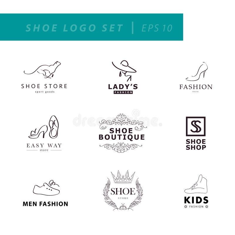 Ícones da sapata ajustados ilustração stock