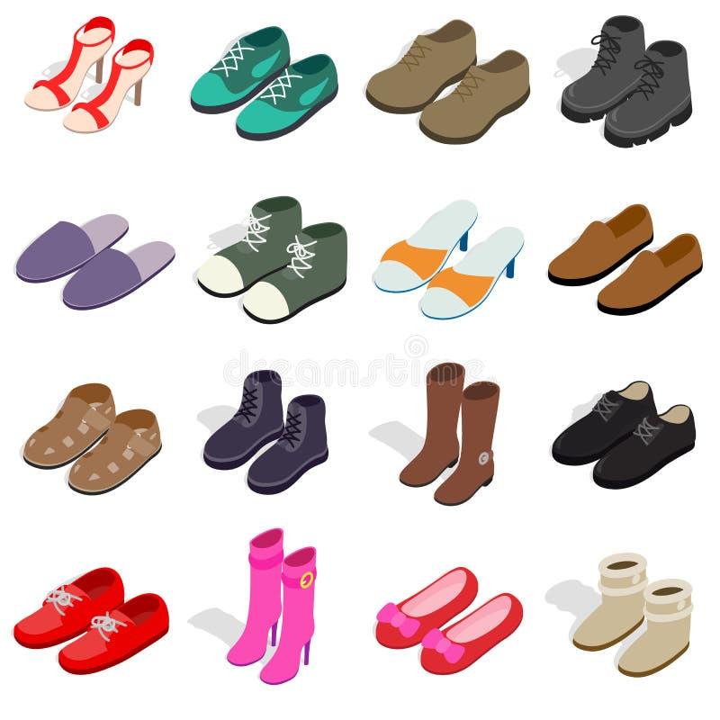 Ícones da sapata ajustados no estilo 3d isométrico ilustração stock