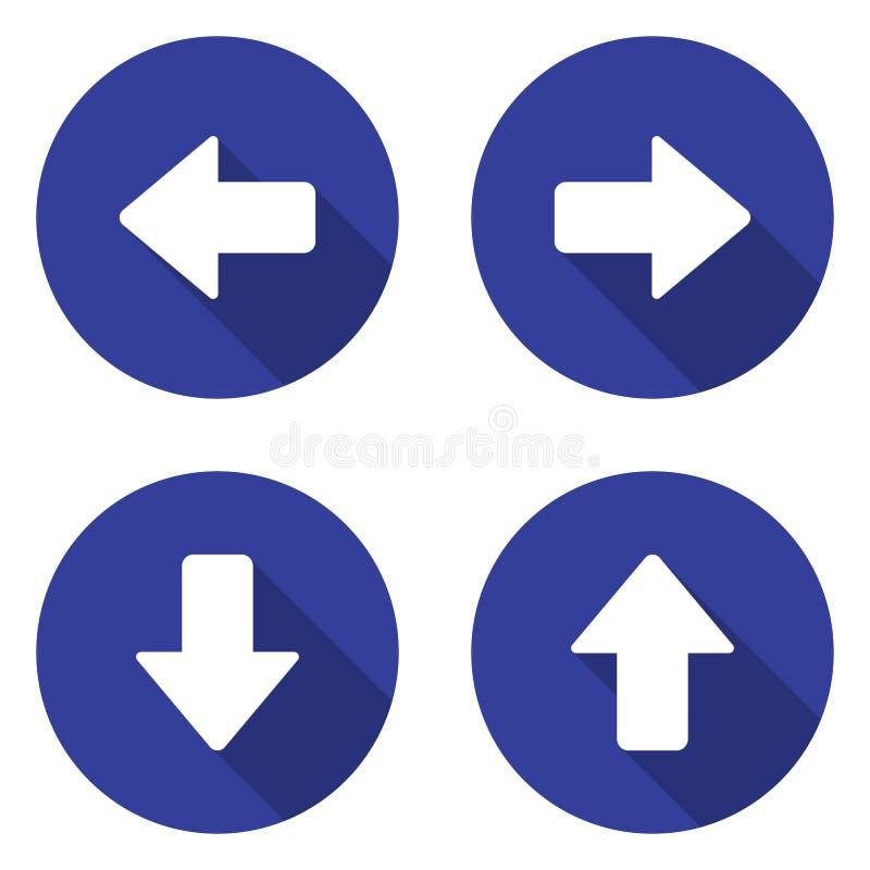 Ícones da seta ajustados ilustração stock