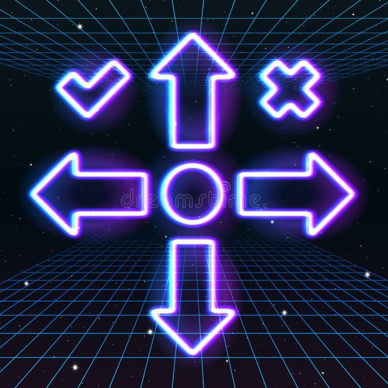 Ícones da seta ou do cursor com estilo de néon retro do jogo 80s ilustração stock