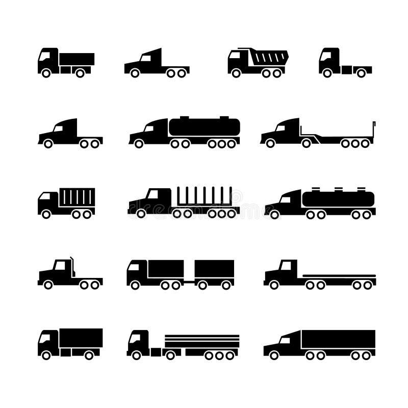Ícones da silhueta do caminhão Transporte, trukcs da carga, descarregadores e camionete Símbolos do vetor do transporte ilustração do vetor