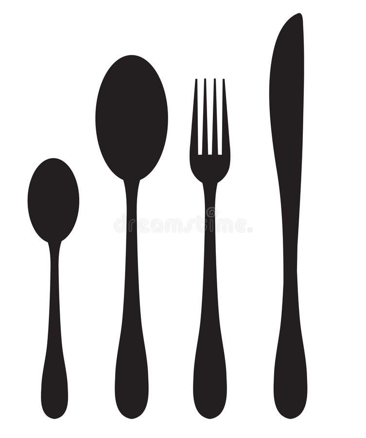 Ícones da silhueta do grupo de jantar Colher, forquilha, silhueta da faca em um fundo branco Ilustração do vetor ilustração stock