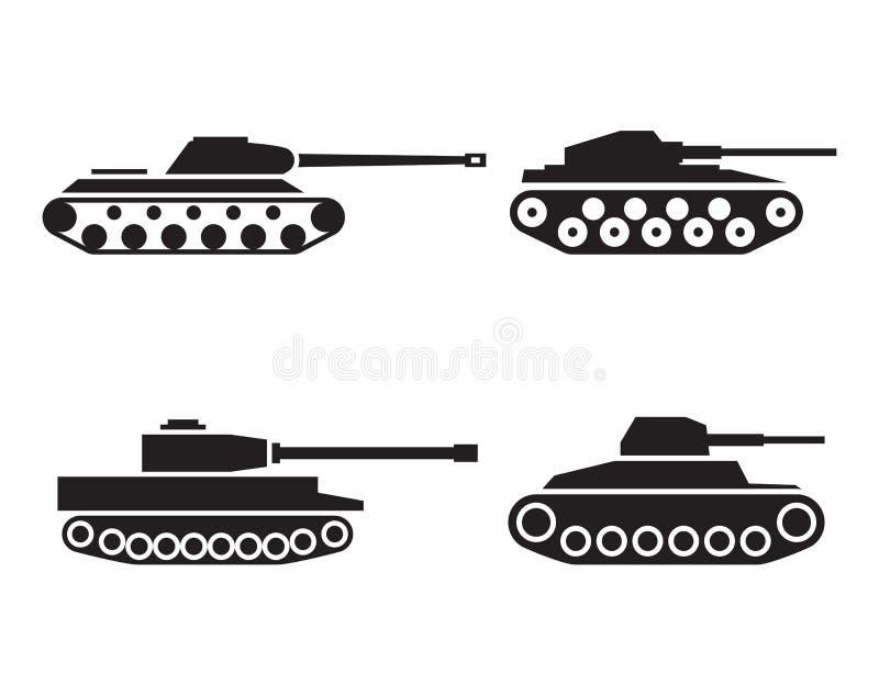 Ícones da silhueta do tanque ajustados ilustração stock